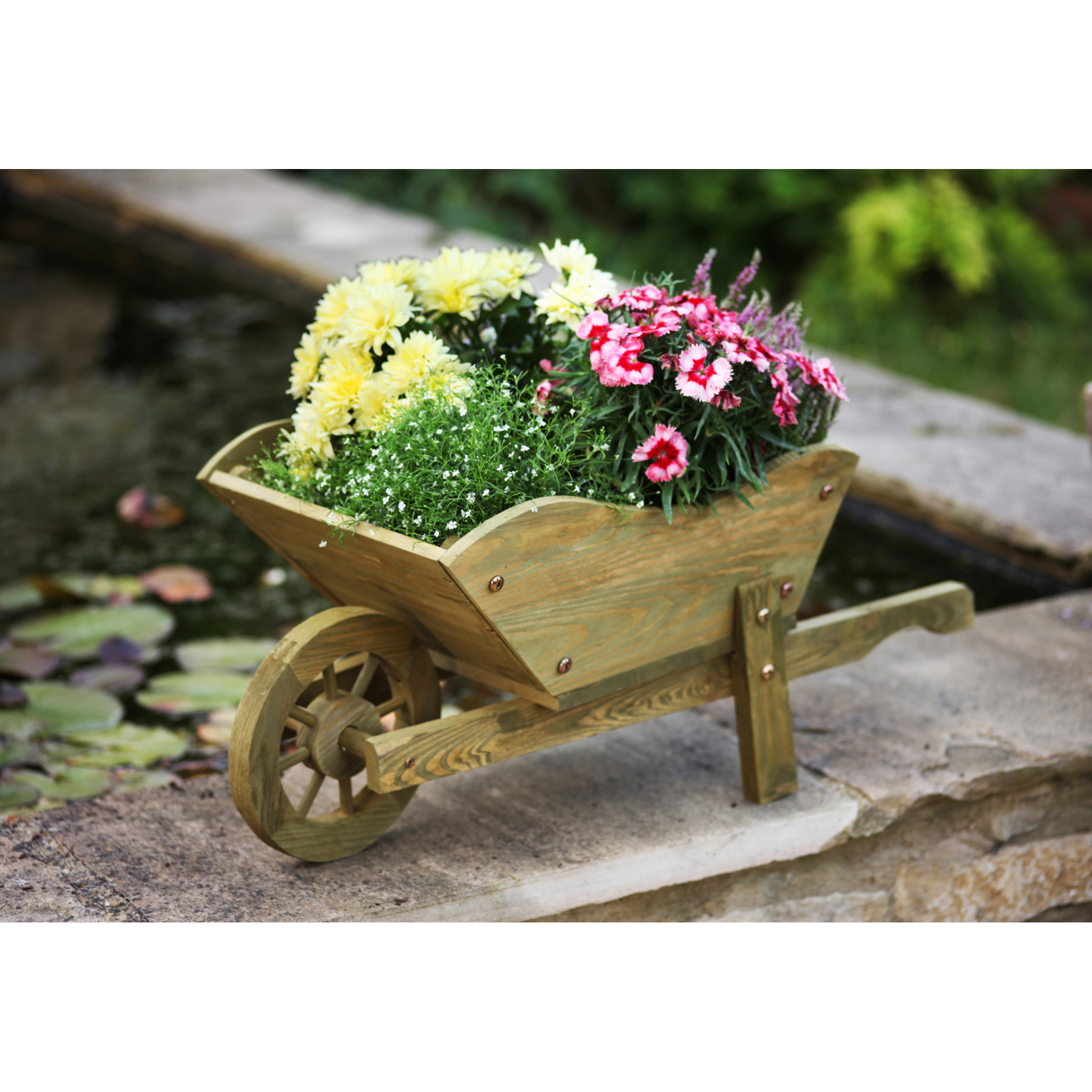 Woodland wheelbarrow planter garden d cor thirsk for Puits decoration jardin