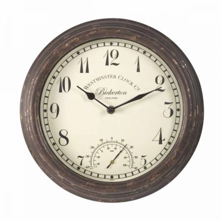 Bickerton Wall Clock & Thermometer 12in - image 1