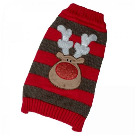 Dog Sweater Reindeer Red/Brown Small - image 1